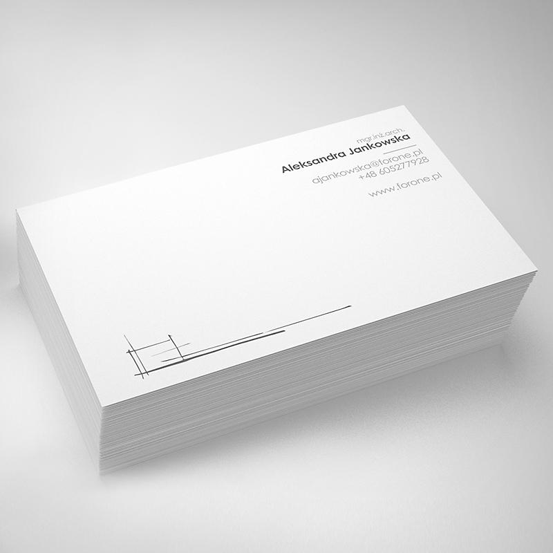 Projekt wizytówki, minimalistyczny, prosty, pracownia architektury i grafiki
