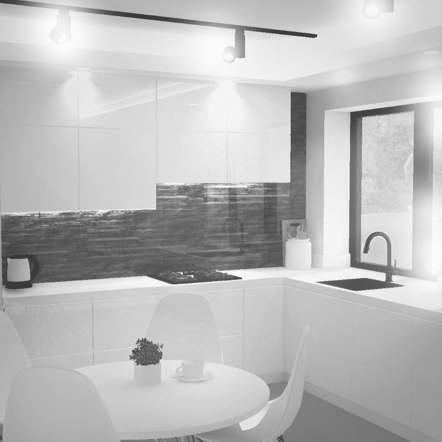 Projekt wnętrza, białe wnętrze, biała kuchnia, drewno w kuchni, architekt wnętrz bielsko-biała