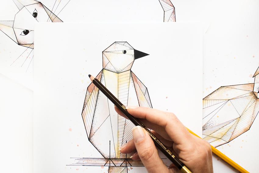 Geometryczne rysunki zwierząt, ilustracje