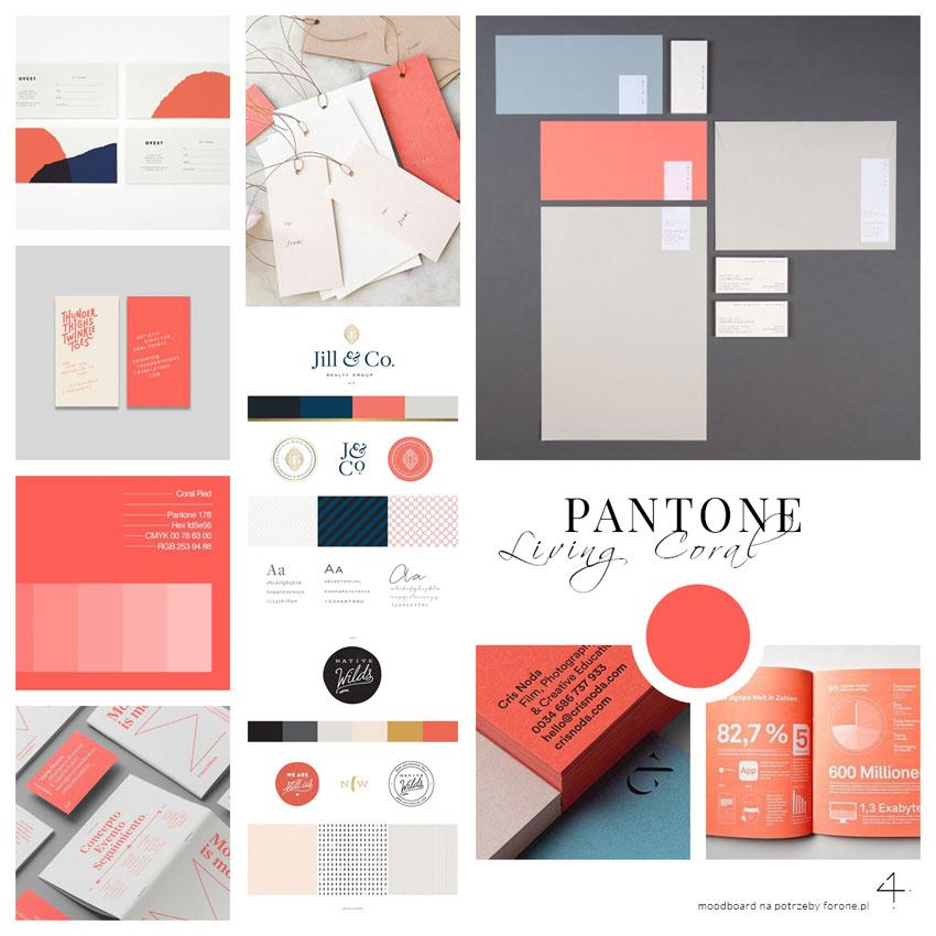Pantone kolor roku 2019 moodboard Pantone w grafice