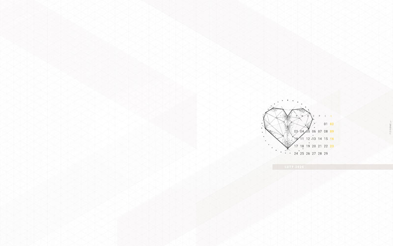 Minimalistyczna tapeta na luty 2020 - podgląd całej tapety z rysunkiem geometrycznym serca