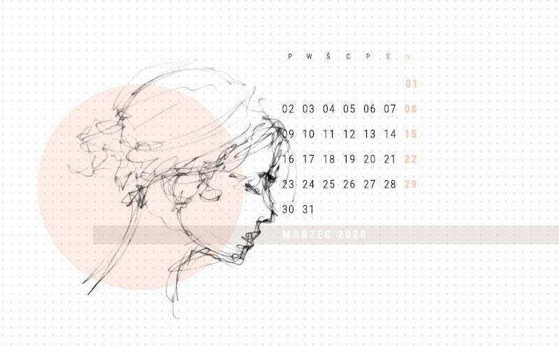 Kobieca tapeta na marzec 2020 podgląd na rysunek z kalentarzem, profil kobiecy szkic