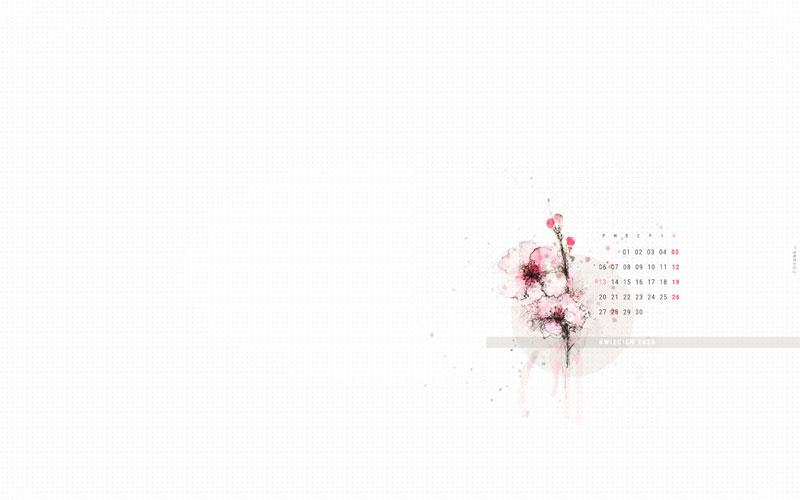 Wiosenna tapeta na kwiecień 2020 podgląd tapety z rysunkiem kwitnącej wiśni