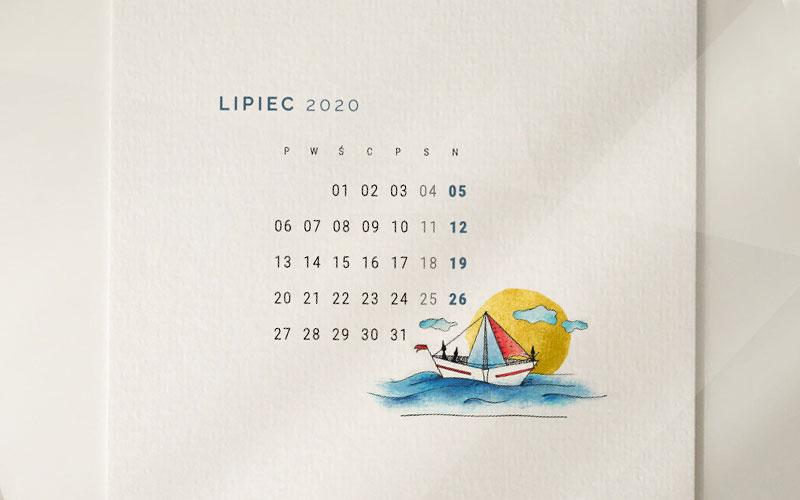 Wakacyjna tapeta na lipiec 2020 podgląd rysunku