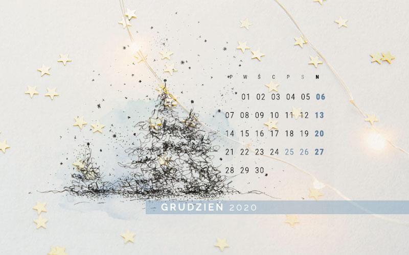 Zimowa tapeta na grudzień 2020 - podgląd na rysunek zimowych choinek